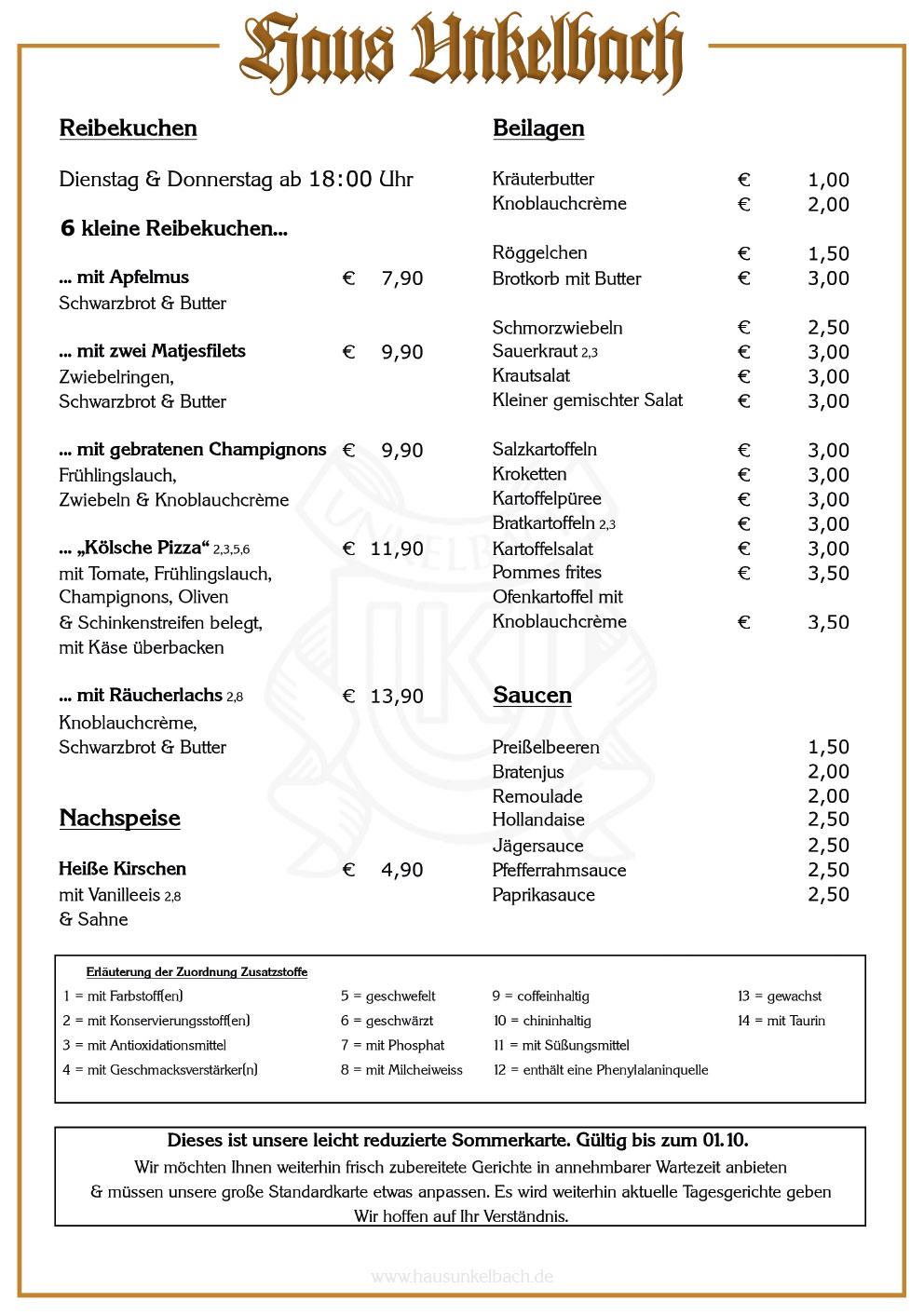 Haus Unkelbach Sommerkarte